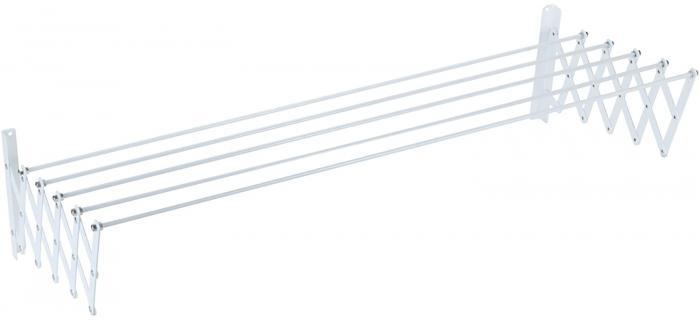 Séchoir mural 100 cm extensible Métal Plastifié Blanc 5 barres SAUVIC 89796 - Séchoir à Linge Extérieur Intérieur Mural 100 cm - Séchoir Etirable Métal blanc 100 cm - 100 x 13 x 18,5 cm