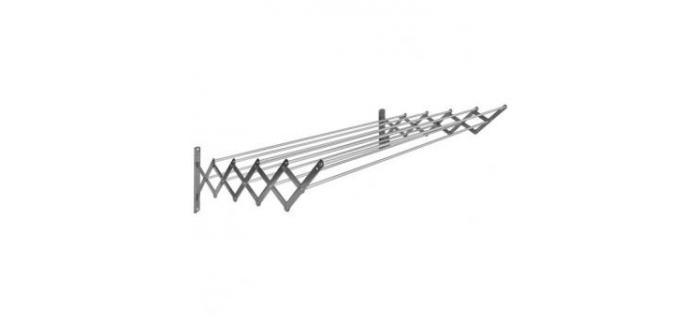 Séchoir Extensible 18/10 Acier Inoxydable 140 cm 10 baleines en Aluminium SAUVIC 90865 - Étendoir à Linge Extensible 10 Baleines en Aluminium 140 cm en Acier Inoxydable 18/10 - 140 x 13 x 18.5 cm