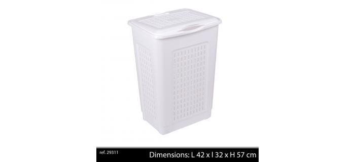 Coffre à linge 50 litres blanc plastique en polypropylène - Coffre à linge plastique - L.42 x l.32 x H.57 cm