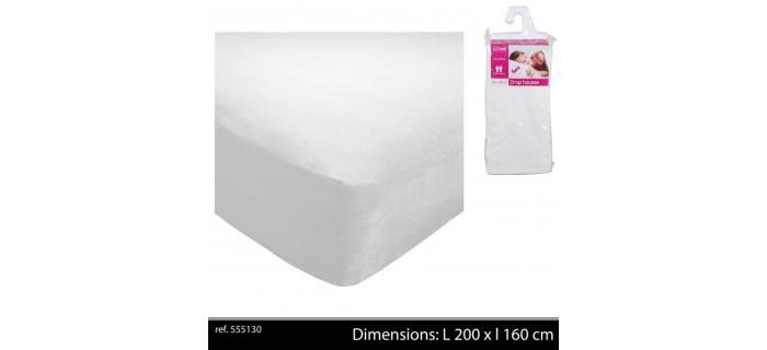 Drap housse 160 x 200 cm Polyester Blanc - Drap housse Uni blanc