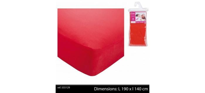 Drap Housse Uni Rouge en Polyester Pour Lit 1 Personne - 140 x 190 cm