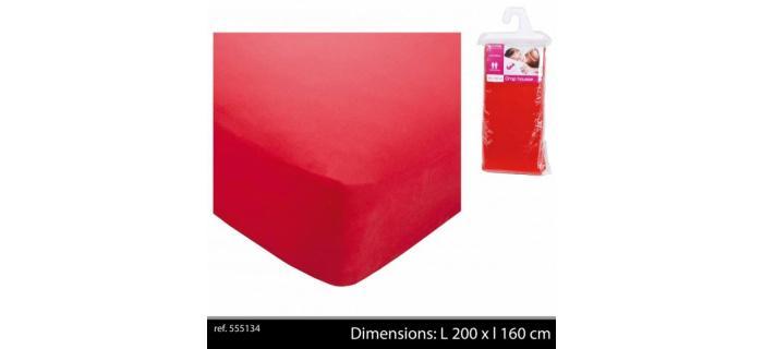Drap Housse Uni Rouge en Polyester Pour Lit 2 Personnes - 160 x 200 cm