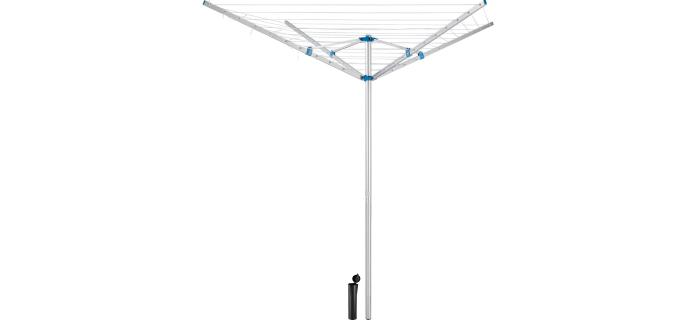 Séchoir Parapluie 50 m Aluminium Rotatif 4 Branches  avec Crémaillère  Ancrage Sol Béton - Séchoir à Linge Etendoir Jardin Extérieur Alu - Corde à linge Plein Air - 180 x 190 x H.180 cm